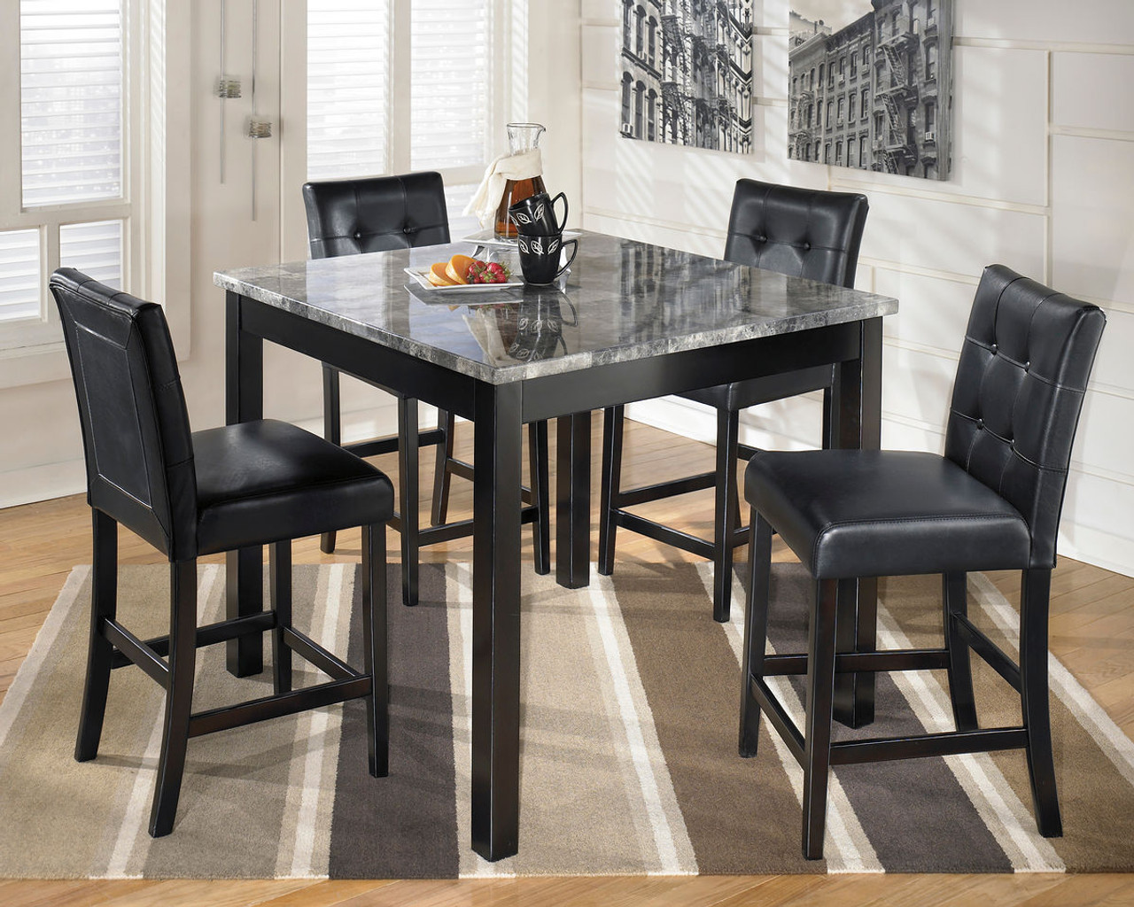 Rent To Own The Maysville Black Square Counter Table Set At Happy S Home Center Serving Tampa Fl And Surrounding Areas