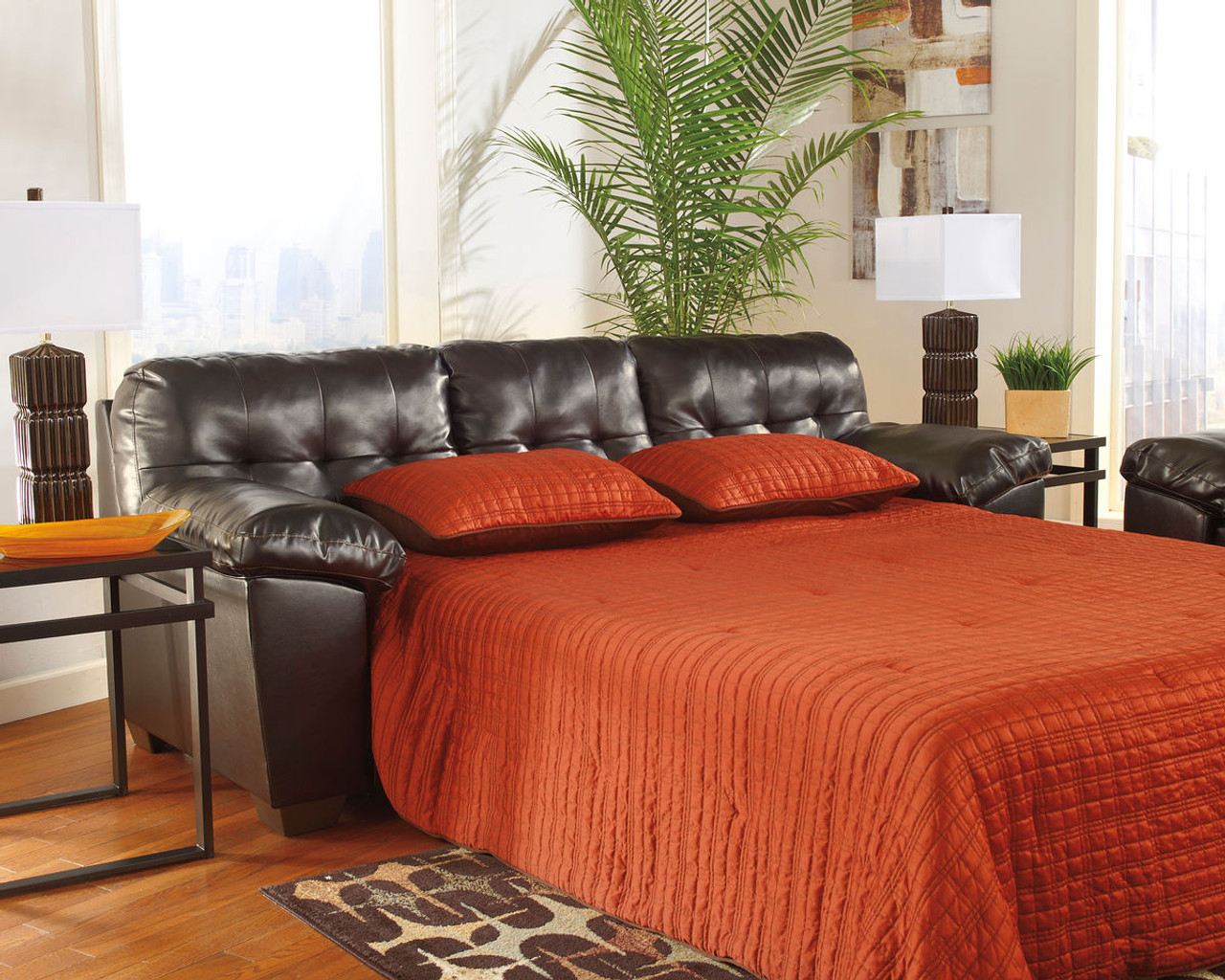 Rent To Own The Alliston Durablend Chocolate Queen Sofa Sleeper At