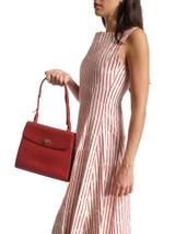 Vintage Red Leather Top Handle Bag