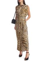 Women Prada Leopard Midi Dress - Brown Size S UK 8 US 4 IT 40