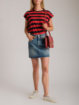 Women Celine Awning Striped T-Shirt - Red Size L UK 12 US 8