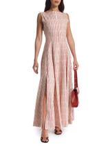 Women Alaïa Striped Midi Dress - White Size UK 12 US 8 FR 40