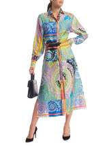Women Versace Printed Belted Dress - Multicolour Size S UK 8 US 4 IT 40