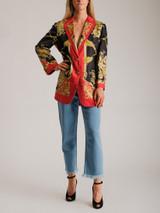 Women Gucci Printed Silk-Twill Blazer - Multicolour Size L UK 14 US 10 IT 46