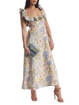 Women Zimmermann Super Eight Floral-Print Midi Dress - Multicolour Size M UK 10 US 6