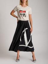 Women Valentino V Logo Pleated Jersey Midi Skirt - Black Size M UK 10 US 6