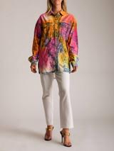 Women Versace Tie-Dye Denim Jacket - Multicolour Size M UK 10 US 6 IT 42