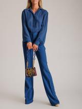 Women Elie Saab Silk Blouse & Straight Leg Trousers - Blue Size M UK 12 US 8 FR 40