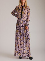 Women Ganni Floral Maxi Dress - Purple Size XS UK 6 US 0 FR 34