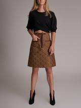 Brown Leather Trim 'Gucci X Disney Mickey Mouse' Midi Skirt