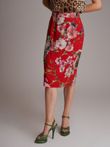 Women Dolce & Gabbana Enchanted Forest Skirt - Red Size XS UK 6 US 0 IT 38
