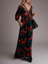 Women Ganni Newman Floral-Print Georgette Maxi Dress - Black Size XS UK 6 US 2 FR 34