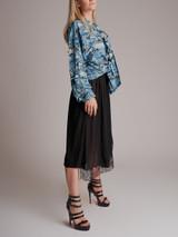 Women Balenciaga Logo Text Print Tie-Neck Silk Shirt - Blue Size XS UK 6 US 2 FR 34