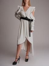 Women Self-Portrait Striped Asymmetric Wrap Dress - White Size L UK 14 US 10