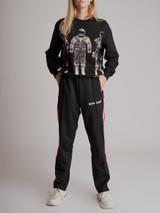 Women Palm Angels Slim-Fit Logo-Print Striped Tech-Jersey Sweatpants - Black Size M UK 10 US 6
