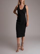 Women Victoria Beckham Sleeveless Midi Knit Bodycon Dress - Black Size L UK 14 US 10 FR 42
