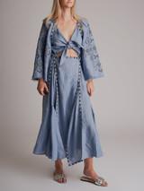 Women Sleeping Gypsy Embroidered Midi Dress - Blue Size S UK 8 US 4