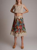 Women Dolce & Gabbana Cropped Top & Skirt - Beige Size S UK 8 US 4 IT 40