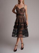 Women Self-Portrait Lace Ruffle Dress - Black Size L UK 14 US 10