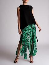 Women Rixo Leopard Slit Midi Skirt - Green Size S UK 8 US 4