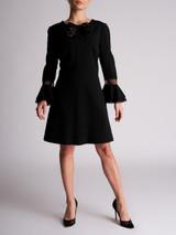 Women Saint Laurent Babydoll Bow Mini Dress - Black Size M UK 12 US 8 FR 40