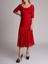Women Dolce & Gabbana Lace Midi Dress - Red Size M UK 10 US 6 IT 42