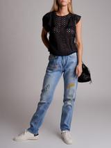 Women Isabel Marant Cut-Out Ruffle Top - Black Size S UK 8 US 6