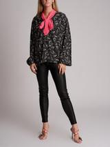 Women Gucci Printed Pussy Bow Silk Shirt  - Black Size UK 14 US 8 IT 44