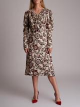Women Rodarte Floral Printed Midi Dress - Multicolour Size M UK 10 US 6