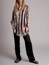Women Balmain Miami Print Blouse Button Down Shirt - Multicolour Size XS UK 6 US 2 FR 34
