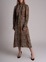 Women Equipment Leopard Print Maxi Dress - Brown Size M UK 12 US 8