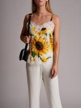 Women Dolce & Gabbana Sunflower-Print Camisole - Yellow Size M UK 12 US 8 FR 40