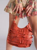 Orange Leather 'Mombasa' Ruffle Handbag