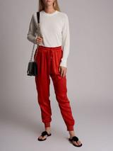 Women Gucci Silk Jogger - Red Size M UK 12 US 8