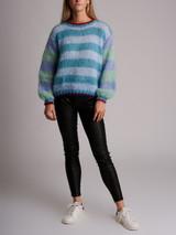 Women Rose Carmine Striped Knit - Multicolour Size S UK 8 US 4