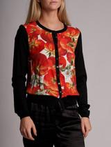 Women Dolce & Gabbana Printed Panelled Cardigan - Black Size S UK 8 US 4 IT 40