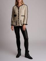 Women Chanel Vintage Tweed Evening Jacket - White Size S