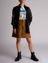 Women Joseph Nappa Leather Outer Shirt Jacket - Black Size S UK 8 US 4 FR 36