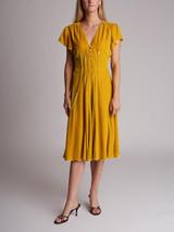 Women Altuzarra Camilla Cap-Sleeve Midi Dress - Yellow Size M UK 10 US 6 FR 38