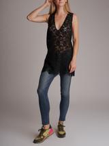 Women Gucci Lace Sleeveless Top - Black Size M UK 10 US 6 IT 42