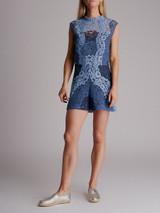 Women Sandro Palace Patchwork Lace Romper - Blue Size L UK 12 US 8 FR 40