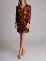 Women The Kooples Painted Roses Embroidered Silk Blouse & Skirt Set - Black Size XS / S UK 8 / 10 US 4 / 6 FR 34 / 36
