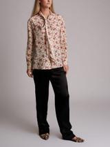 Women Prada Rose Printed Blouse - White Size S UK 8 US 4 IT 40