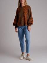 Women Ganni Leopard Printed Sweater - Brown Size S UK 8 US 4