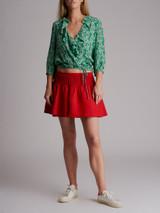 Women Rixo Printed Wrap Top Green Size XS UK 6 US 0