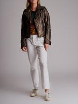 Women Balenciaga Metallic Biker Jacket - Bronze Size M UK 10 US 6 FR 38