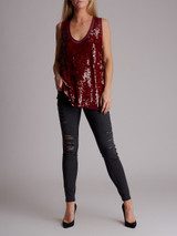 Women Stella McCartney Sequinned Top - Burgundy Size M UK 12 US 8 IT 44