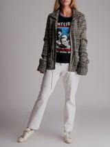Women Chanel Tweed Pattern Jacket - Grey Size M UK 12 US 8 FR 40