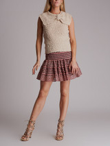 Women Chloé Fluffy Knit Bow Top - Beige Size S UK 8 US 4