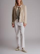 Women Chanel Canvas Jacket - Beige Size M UK 10 US 6